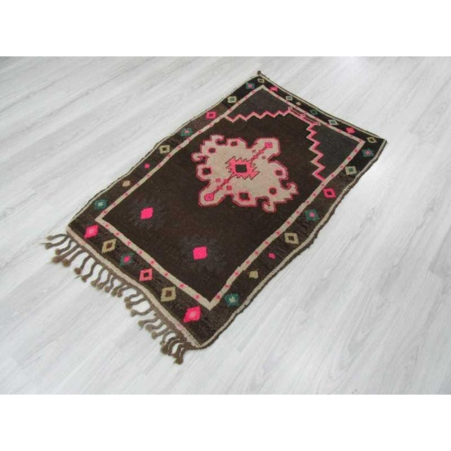 Vintage handknotted small decorative Turkish Kars area rug For Sale - Image 5 of 6