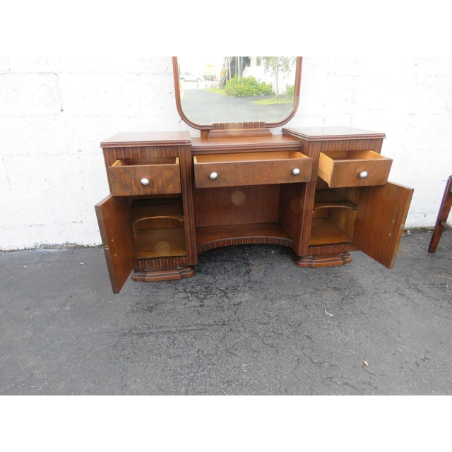 Art Deco Walnut Set of Vanity Writing Desk With Mirror and Chair For Sale - Image 4 of 11