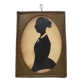 19th Century Miniature Silhouette of a Young Lady in a Hand Etched Brass Frame For Sale