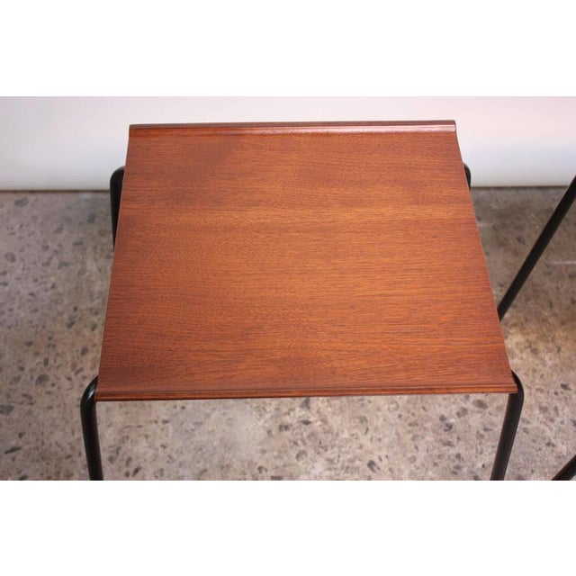 1950s Arne Jacobsen for Fritz Hansen Danish Teak and Metal Stacking Tables - A Pair For Sale - Image 4 of 9