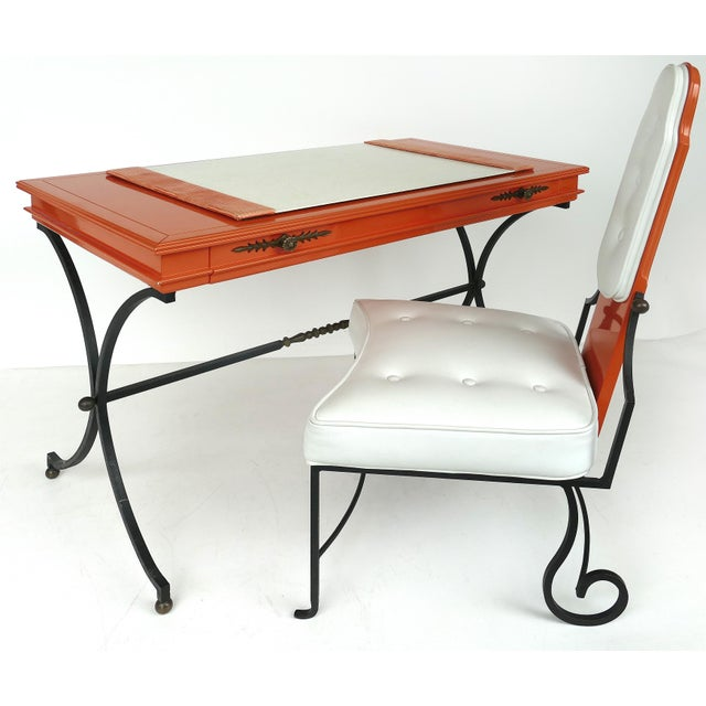 Italian Orange Lacquer Wrought Iron Desk & Chair - 2 Pieces For Sale - Image 13 of 13