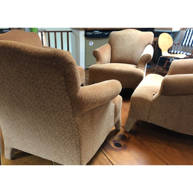 Tan 1990s Vintage John Hutton Style Club Chairs Pair For Sale - Image 8 of 13