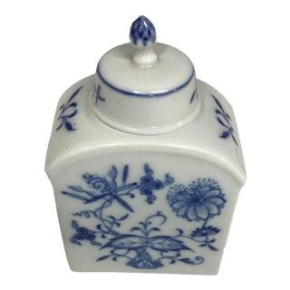 Vintage Meissen Porcelain Tea Caddy With Blue Flowers For Sale