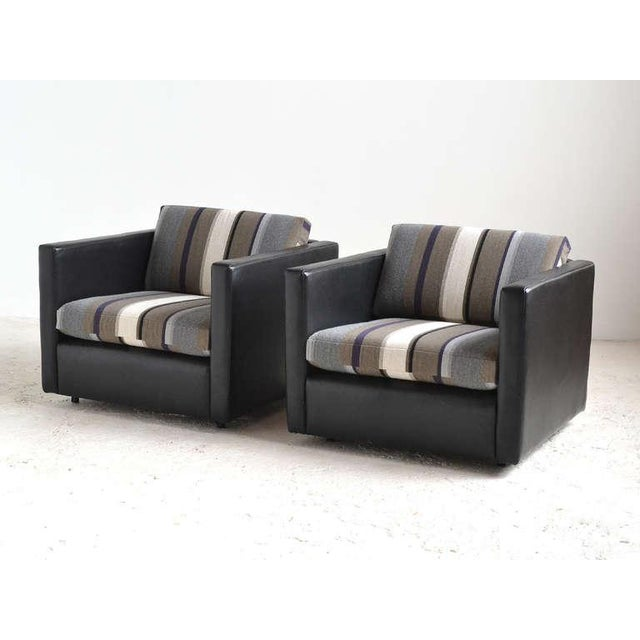 Pair of Pfister Lounge Chairs by Knoll in Leather and Fabric - Image 5 of 8