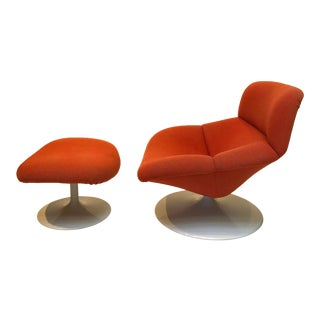 Mid Century Modern F522 Lounge Swivel Chair & Ottoman by Geoffrey Harcourt for Artifort - a Pair For Sale