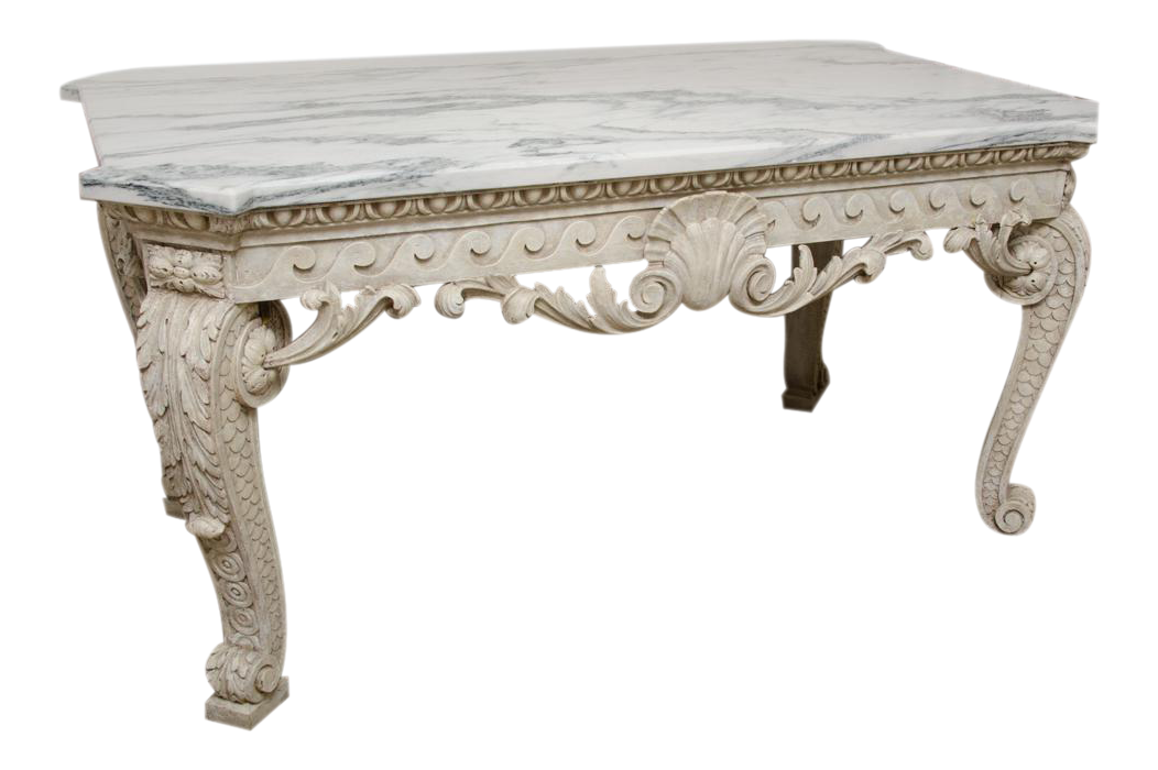 Excellent George Ii Marble Top Console Table Decaso