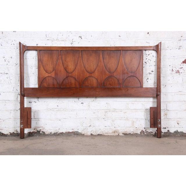 Broyhill Brasilia Broyhill Brasilia Mid-Century Modern Sculpted Walnut Queen Size Headboard For Sale - Image 4 of 4