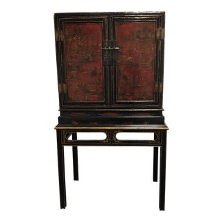 Antique 18th Century Chinese Red+ Black Lacquered Cabinet