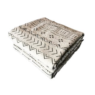 "African Large Black & White Mud Cloth Textile Mali 86"" by 60"" For Sale"