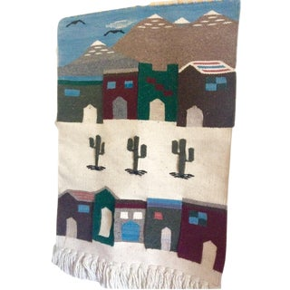 Vintage Tasseled Boho Handwoven Southwest Village Fiber Wall Art For Sale