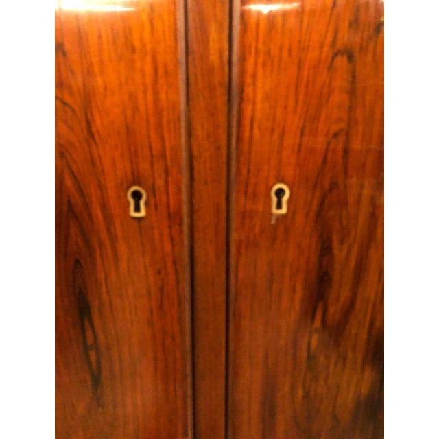 Brown Two-Door Over Three-Drawer Mid-Century Modern Brazilian Rosewood Cabinet Chest For Sale - Image 8 of 13
