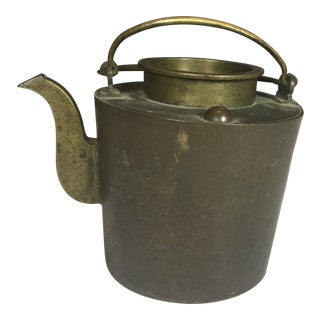 Antique Large Cylinder Shaped Bronze Teapot For Sale