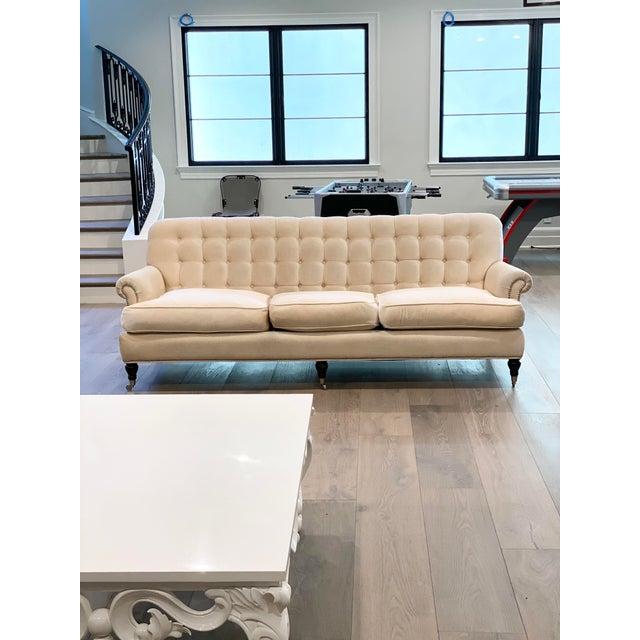 Grace Home Furnishings Beige Velvet NailHead Contemporary Sofa For Sale - Image 13 of 13