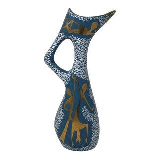 Mid Century Italian Pottery Art Deco j.b.h. Vase Signed Mari For Sale