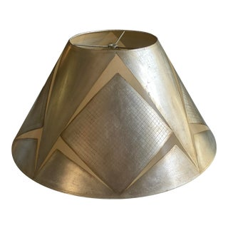 Handmade Parchment Lampshade With Hand Applied Silver Metal Leaf Detail For Sale