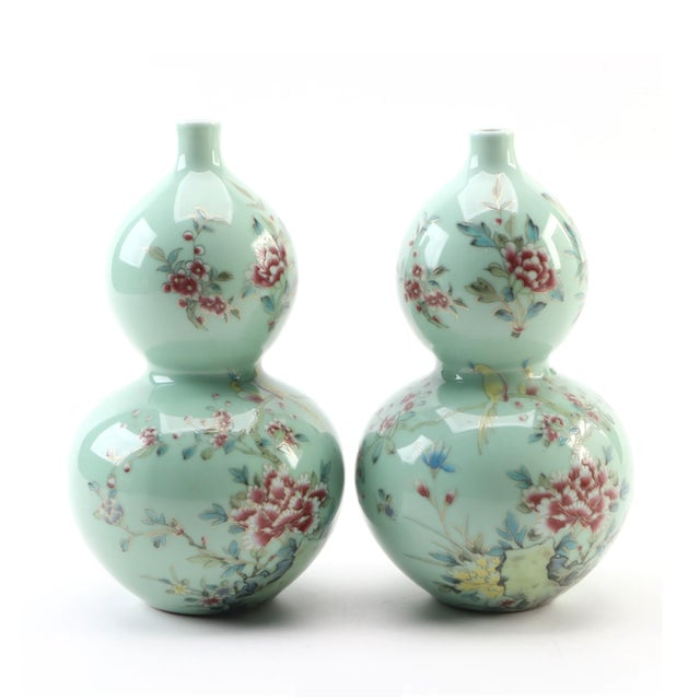 Chinese Celadon Porcelain Double Gourd Vases With Hànzì and Floral Motif - a Pair For Sale - Image 13 of 13