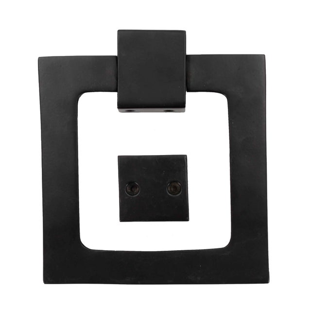 Contemporary Large Modern Black Door Knocker, Matching Strike Plate For Sale - Image 3 of 5