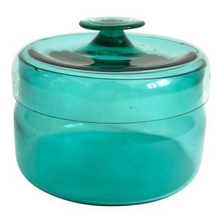 Vintage Teal Blown Glass Jar For Sale