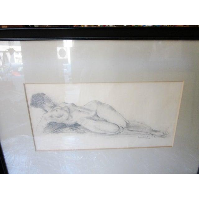 Black Vintage 1930s Art Deco Nude Portrait Life Figure Pencil Drawing Signed and Framed For Sale - Image 8 of 11