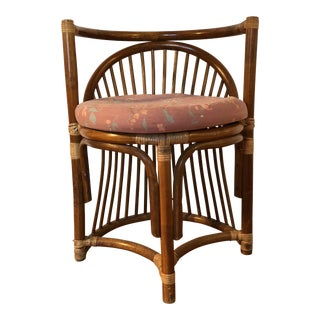 Mid-Century Palm Regency Rattan Vanity Stool Chair For Sale