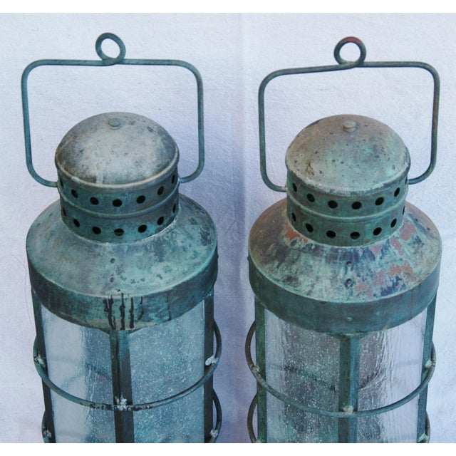 Nautical Copper Lantern Wall Sconces- A Pair - Image 5 of 12