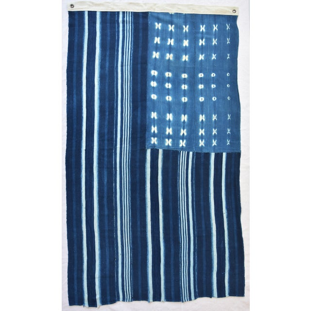 Custom Tailored Blue & White Flag From African Textiles - Image 3 of 8