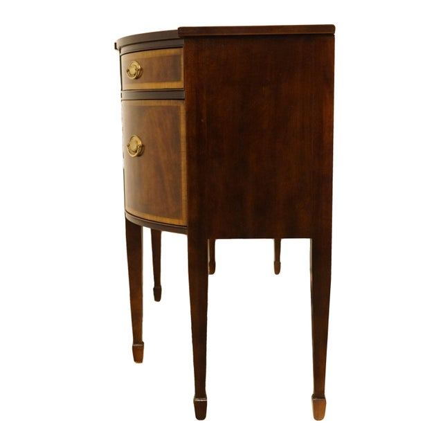 20th Century Hepplewhite Thomasville Furniture Mahogany Collection Demilune Sideboard/Buffet For Sale - Image 10 of 13
