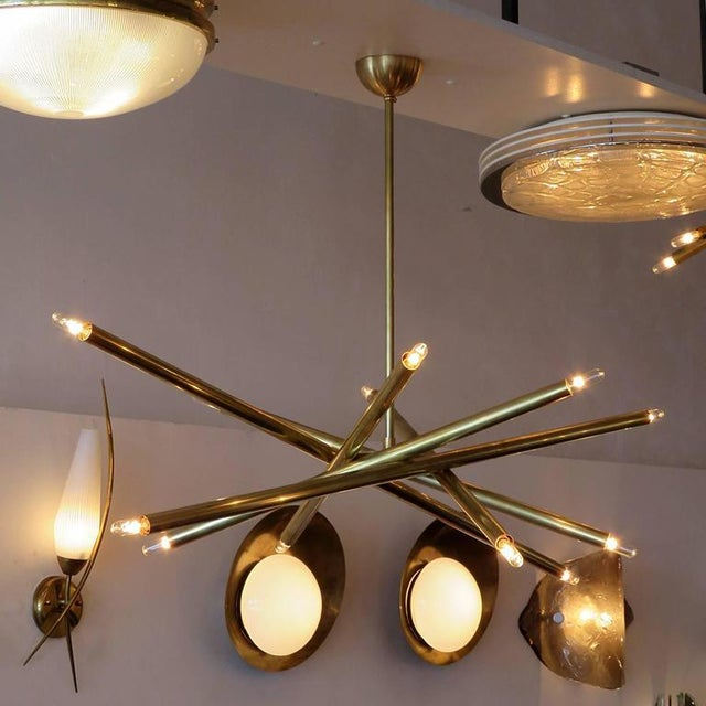 Raw Brass & Spiral Chandelier For Sale - Image 9 of 11