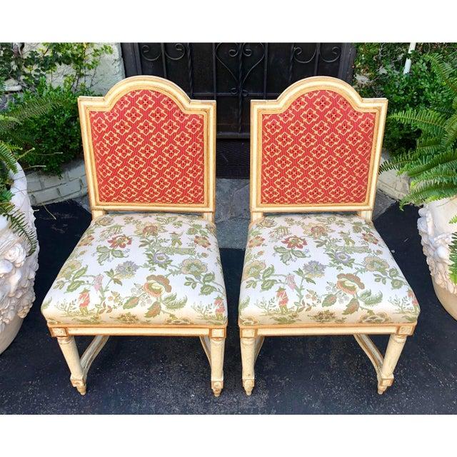 Pair of Antique Louis XVI Maison Jansen Petite Side Chairs