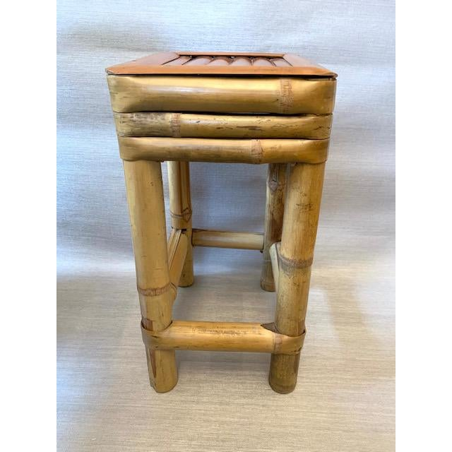 Bamboo Drinks Side Table or Plants Stand For Sale - Image 4 of 5