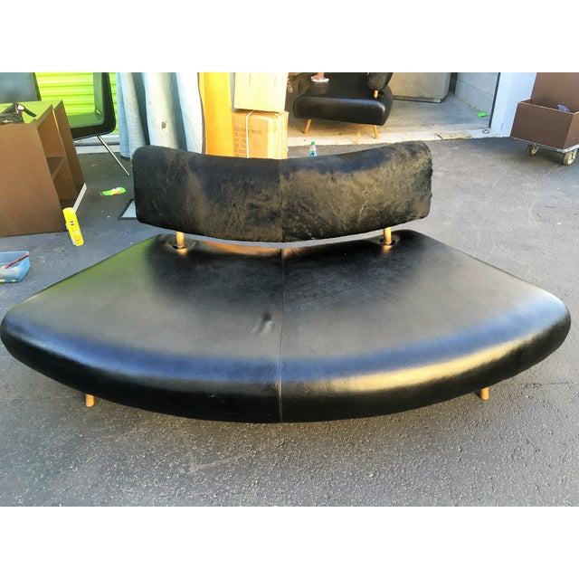 Black Faux Cowhide Convex Sofa Bench - Image 2 of 7