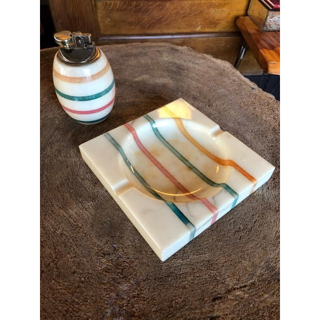 1960s Italian Alabaster Ashtray and Lighter Set For Sale - Image 13 of 13