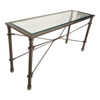 Metal Console Table With Beveled Glass For Sale