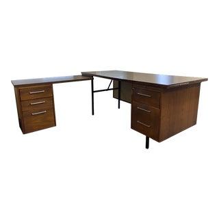 Vintage Mid-Century Modern Alma L Shape Desk For Sale