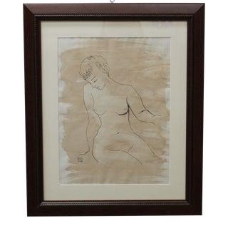 Framed Ruth Hilts Vintage 1958 Nude Drawing For Sale