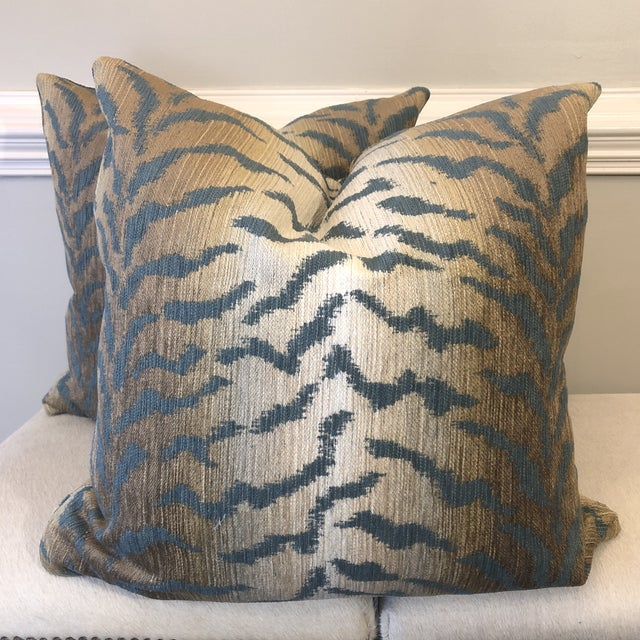 """Cotton Jade Tiger Chenille 22"""" Pillows-A Pair For Sale - Image 7 of 7"""