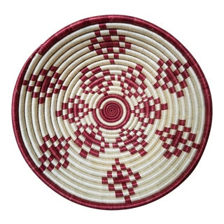 African Rwanda Coil Basket Boil & Wall Art For Sale