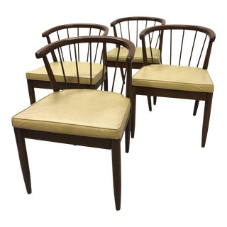Mid-Century Walnut Curved Back Dining Chairs by Stanley Furniture - Set of 4 For Sale