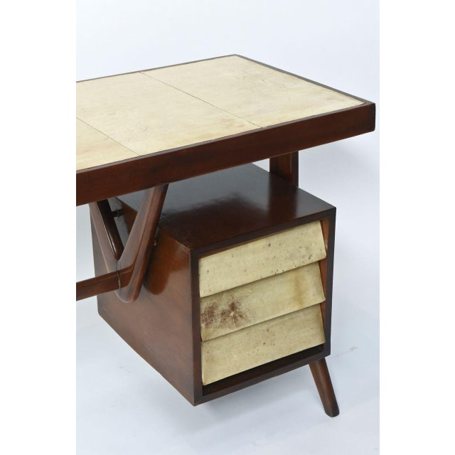 Silvio Cavatorta Italia Modern Mahogany and Parchment Desk, Silvio Cavatorta For Sale - Image 4 of 10