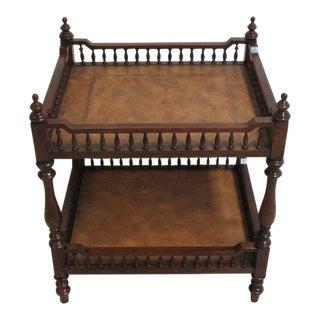 Drexel Covington Park 2 Tiered Leather End Table
