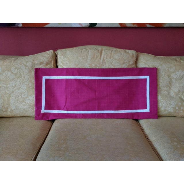 Custom Magenta Pink Linen Pillow Cover For Sale - Image 12 of 12