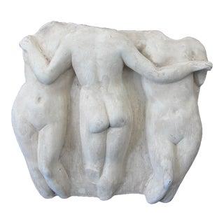 Late 20th Century Tradiitonal White Plaster Plaque of 3 Nudes