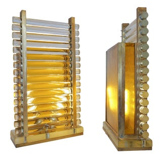 1970s Italian Brass & Crystal Urban Design Table Lamps - a Pair For Sale