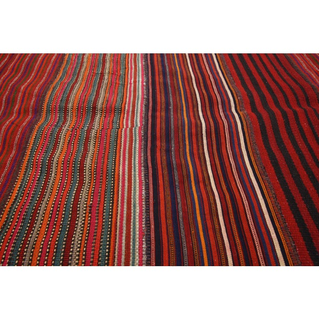 1960s Vintage Turkish Jajim Kilim Flat-Weave Rug - 8′4″ × 10′7″ For Sale - Image 4 of 6
