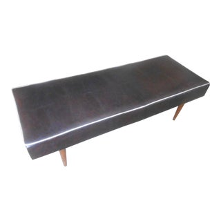 Authentic Mid-Century Modern Brown With White Trim Vinyl Bench
