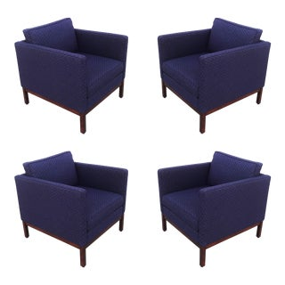 Set of Four Florence Knoll Style Lounge Chairs, Two Ottomans With Wood Bases For Sale
