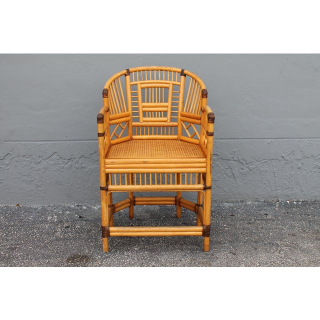 Vintage Palm Beach Regency Rattan Armchair For Sale - Image 11 of 11