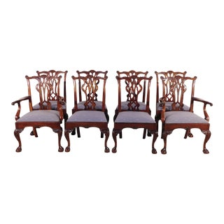 1990s Vintage Kindel Winterthur Chippendale Mahogany Ball & Claw Dining Chairs - Set of 8 For Sale