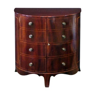 A Shapely and Elegant English Regency Mahogany 2-Door Demi-Lune Chest/Cabinet