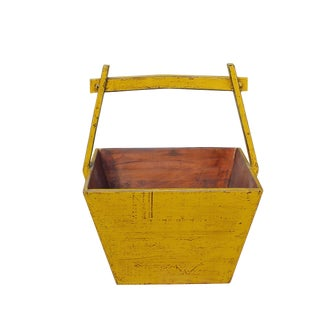 Traditional Chinese Village Vintage Wood Yellow Square Handle Bucket For Sale